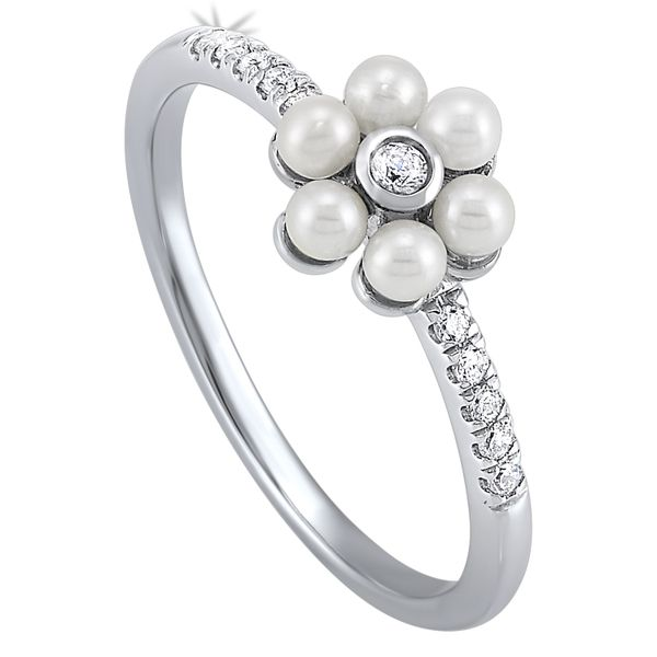 10k White Gold 0.10ctw Diamond and Pearl Ring Robert Irwin Jewelers Memphis, TN