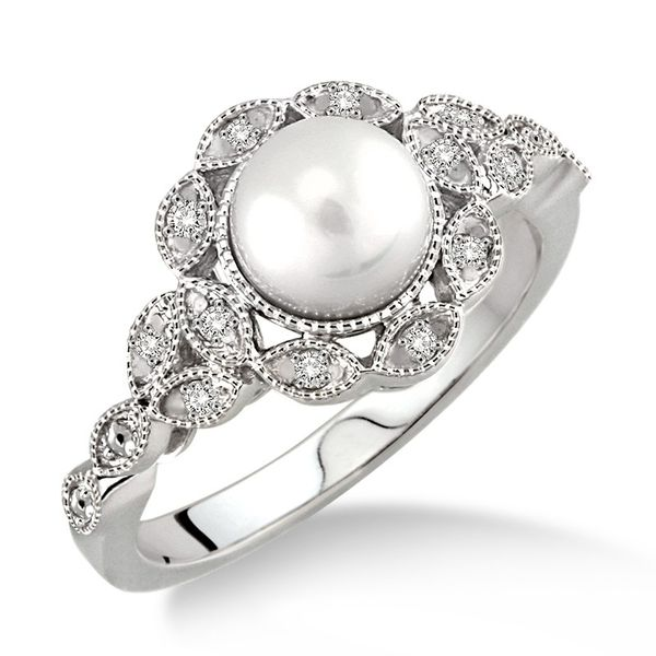 Sterling Silver 1/20ctw Diamond and Pearl Fashion Ring Robert Irwin Jewelers Memphis, TN