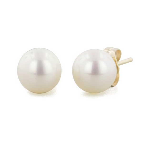 14k Yellow Gold 7-7.7mm Freshwater Cultured Pearl Earrings Robert Irwin Jewelers Memphis, TN