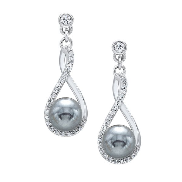 Sterling Silver Pearl and CZ Earrings Robert Irwin Jewelers Memphis, TN
