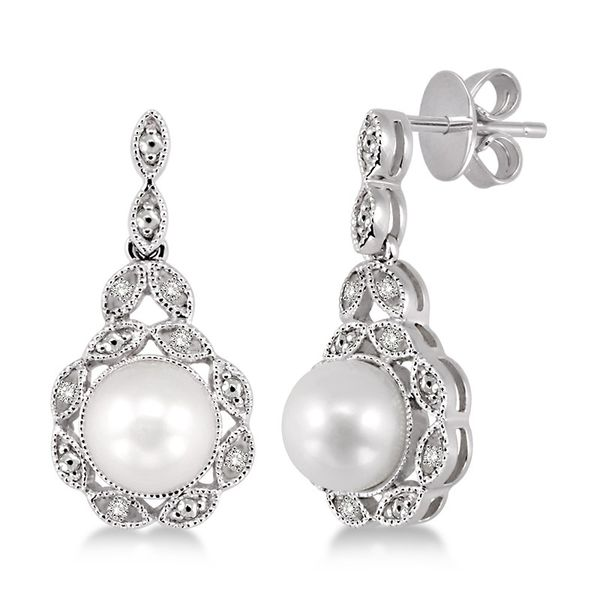 Sterling Silver 1/20ctw Diamond and Pearl Earrings Robert Irwin Jewelers Memphis, TN