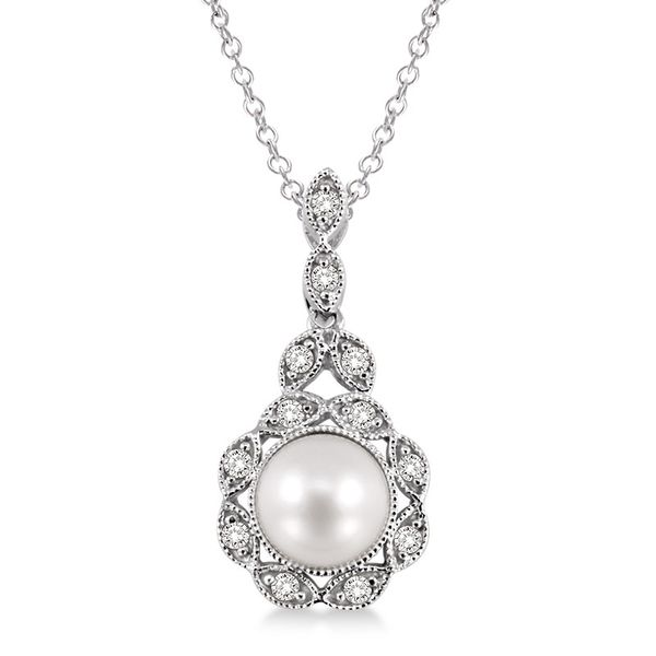 Sterling Silver 1/20ctw Diamond and Pearl Pendant Robert Irwin Jewelers Memphis, TN