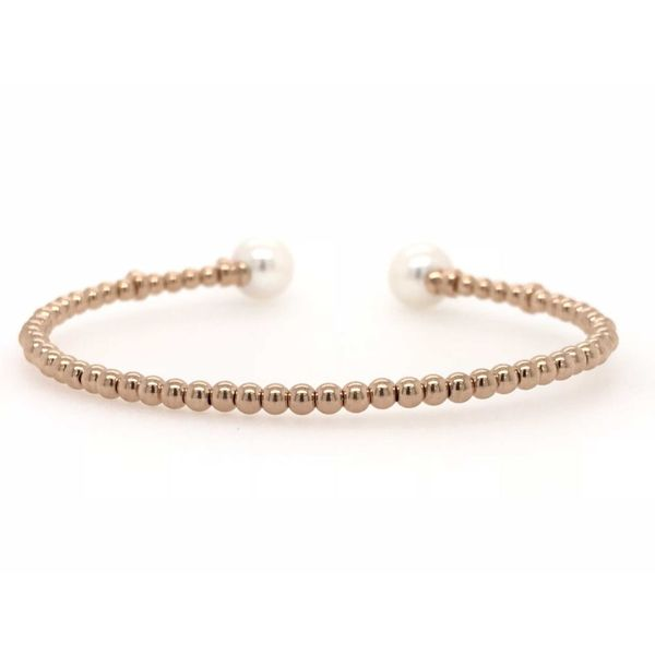 18k Rose Gold 0.13ctw Diamond and White Pearl Cuff Bangle Bracelet Image 2 Robert Irwin Jewelers Memphis, TN