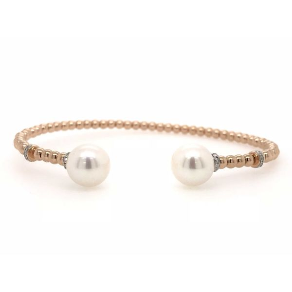 18k Rose Gold 0.13ctw Diamond and White Pearl Cuff Bangle Bracelet Robert Irwin Jewelers Memphis, TN