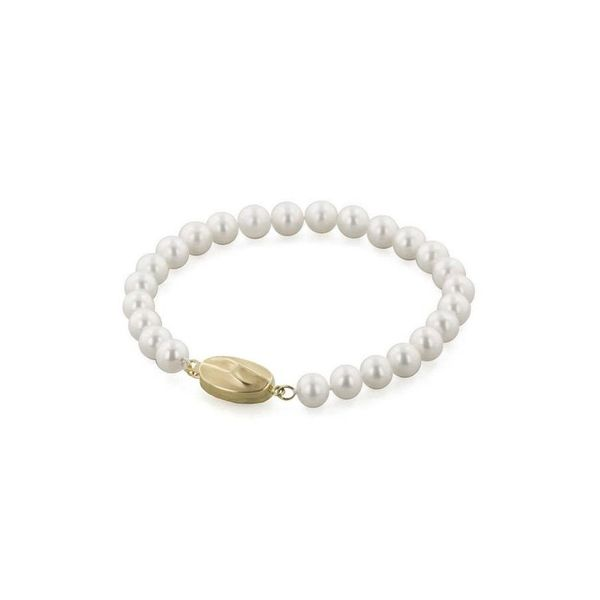 14k Yellow Gold 7 Inch 7mm Honora Freshwater Pearl Bracelet Robert Irwin Jewelers Memphis, TN