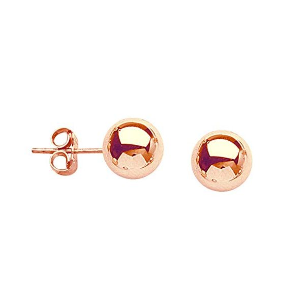 14k Rose Gold 6mm Ball Stud Earrings Robert Irwin Jewelers Memphis, TN