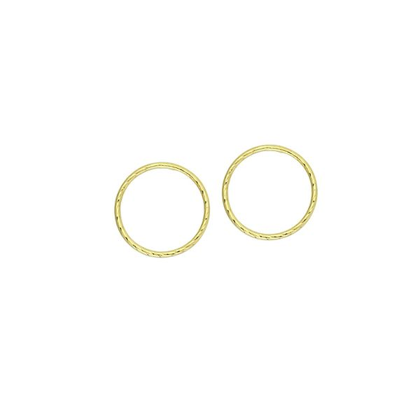 10k Yellow Gold 17mm Circle Post Textured Earrings Robert Irwin Jewelers Memphis, TN
