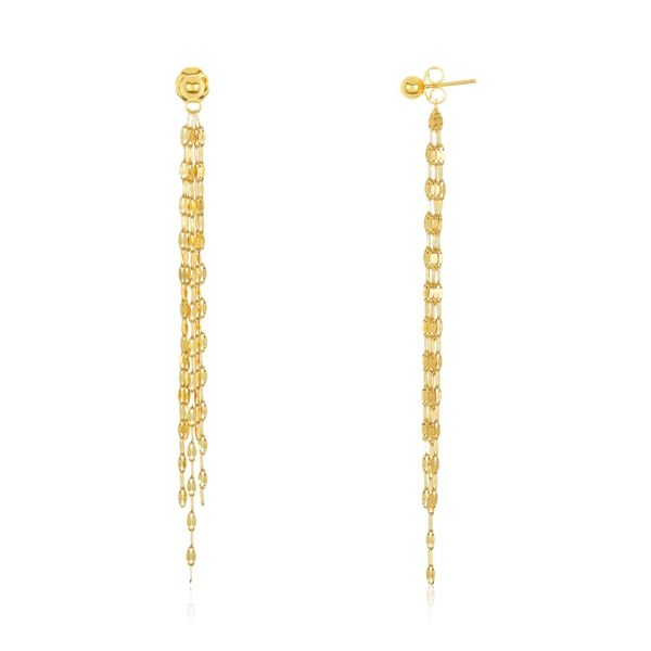 14k Yellow Gold Dangle Drop Earrings Robert Irwin Jewelers Memphis, TN