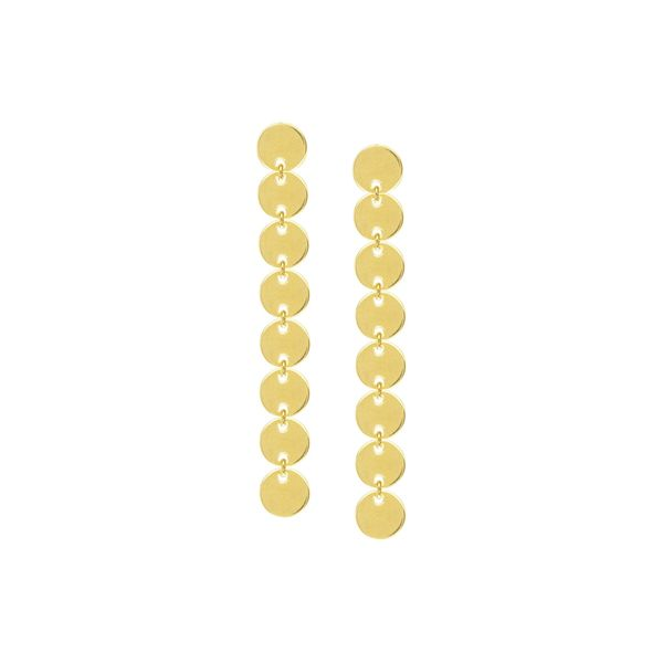 14k Yellow Gold Linear Disc Drop Earrings Robert Irwin Jewelers Memphis, TN