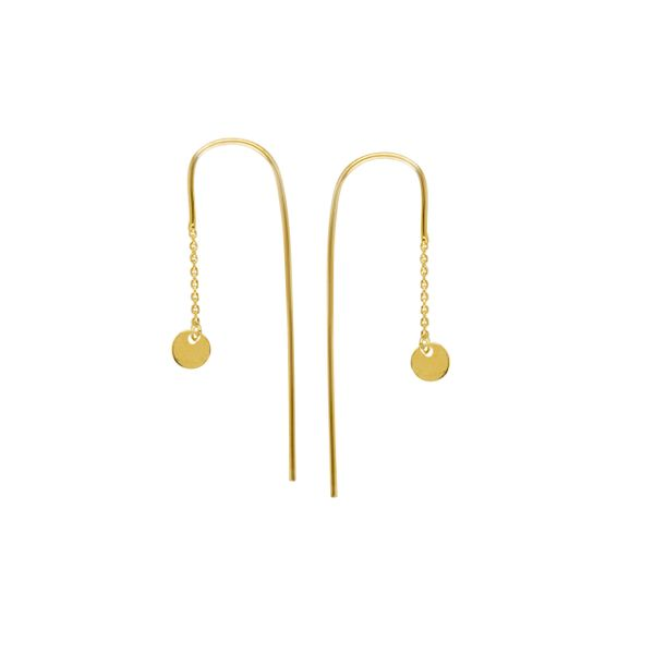 14k Yellow Gold Dangle Disk Hook Threaded Earrings Robert Irwin Jewelers Memphis, TN