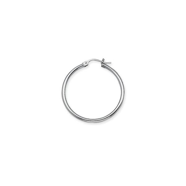 10k White Gold Polished Hoop Earrings Robert Irwin Jewelers Memphis, TN