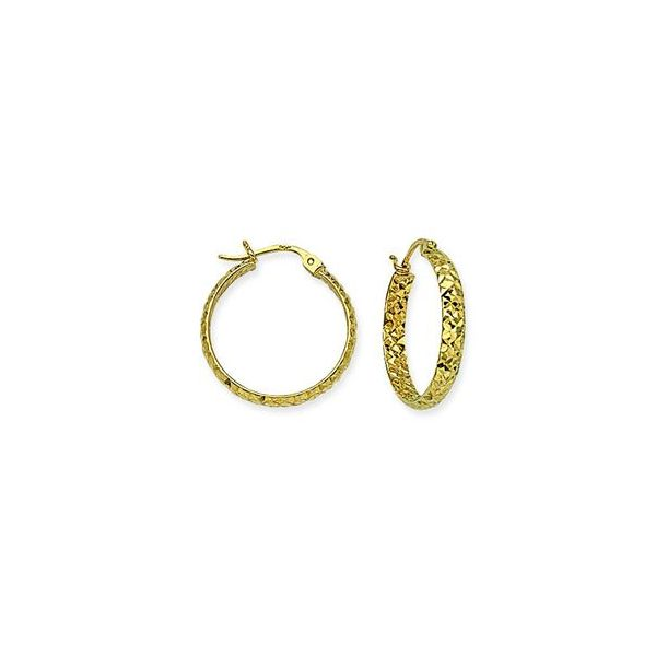10k Yellow Gold Half Round Tube Hoop DC 3/20mm Earrings Robert Irwin Jewelers Memphis, TN