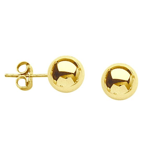 14k Yellow Gold 6mm Ball Stud Earrings Robert Irwin Jewelers Memphis, TN