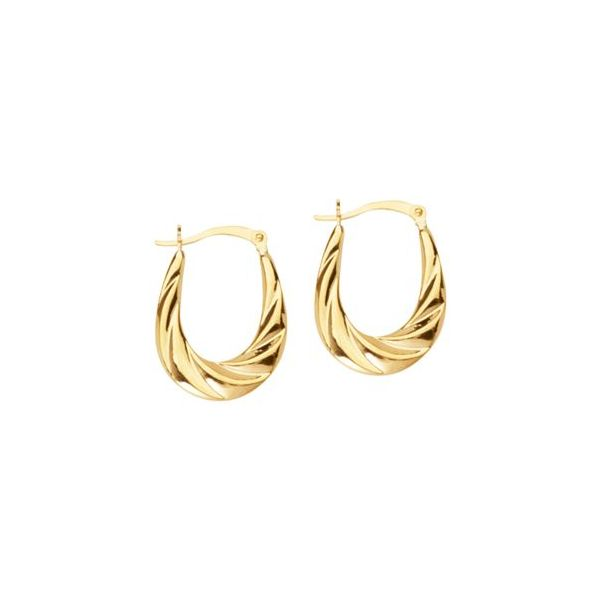 10k Yellow Gold Oval Scalloped Back to Back Hoop Earrings Robert Irwin Jewelers Memphis, TN