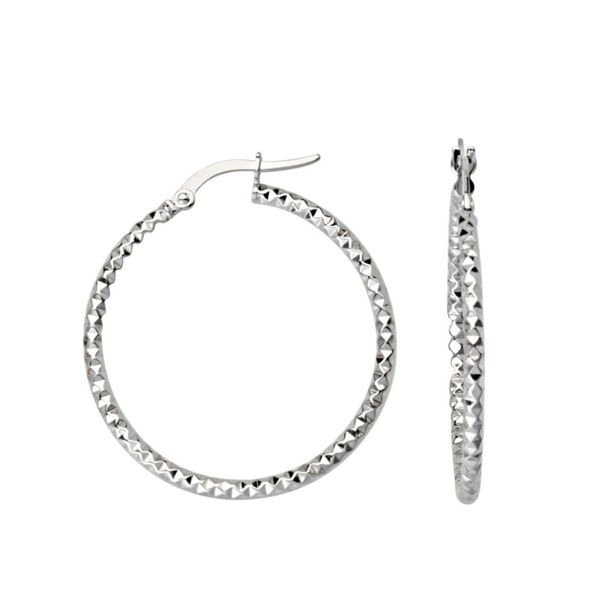 10k White Gold 25mm Diamond Cut Fancy Hoop Earrings Robert Irwin Jewelers Memphis, TN