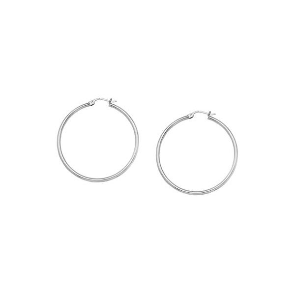 10k White Gold 25mm Hoop Earrings Robert Irwin Jewelers Memphis, TN