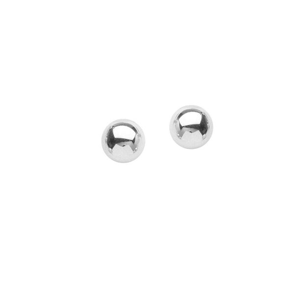 14k White Gold 3MM Ball Stud Earrings Robert Irwin Jewelers Memphis, TN
