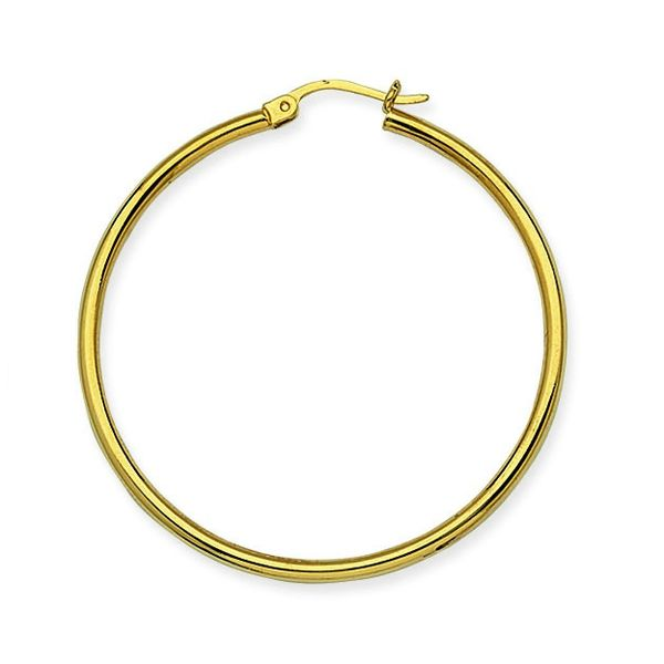 10k Yellow Gold 35MM Polished Hoop Earrings Robert Irwin Jewelers Memphis, TN