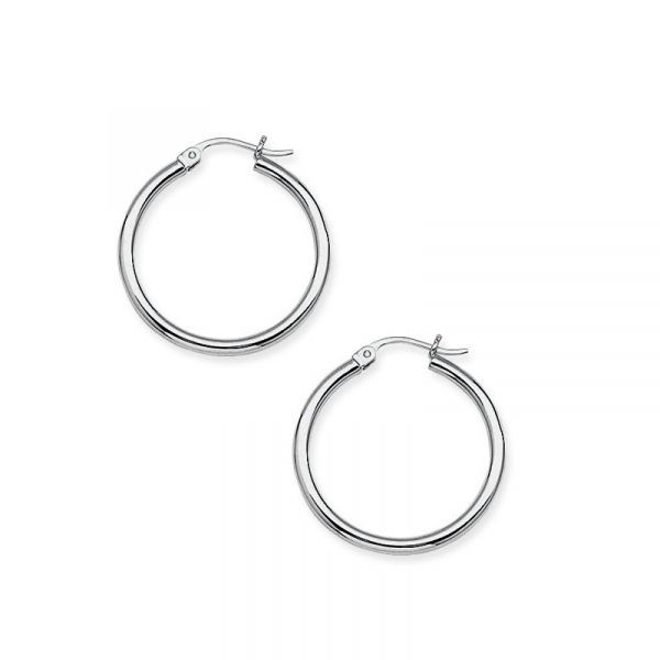 10k White Gold 15mm Polished Hoop Earrings Robert Irwin Jewelers Memphis, TN