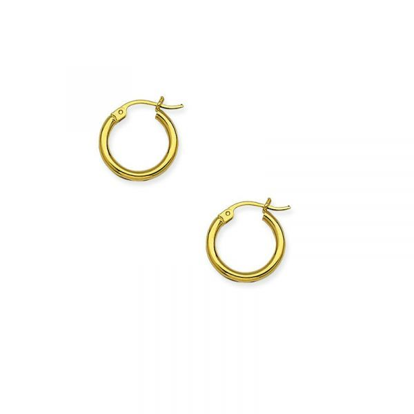 10k Yellow Gold 15mm Polished Hoop Earrings Robert Irwin Jewelers Memphis, TN