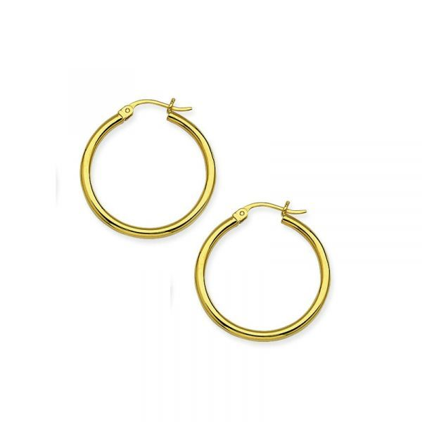 10k Yellow Gold 25mm Polished Hoop Earrings Robert Irwin Jewelers Memphis, TN