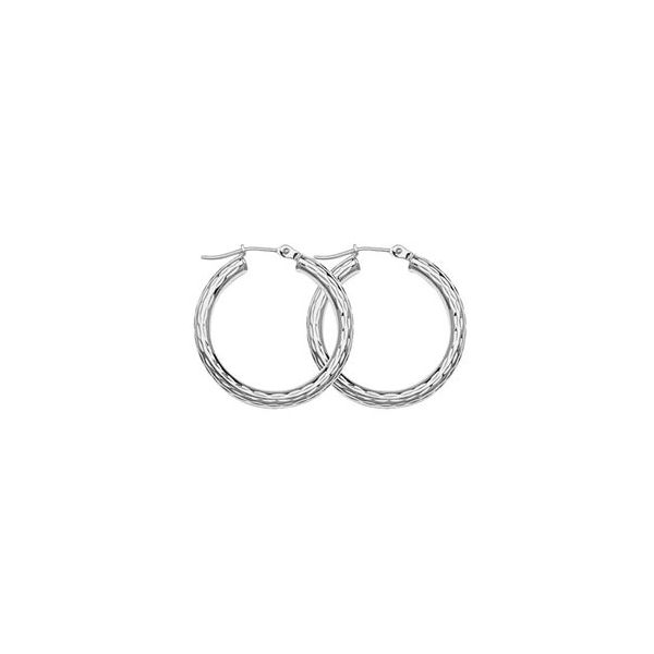 10k White Gold Shiny Round Tube Earrings Robert Irwin Jewelers Memphis, TN