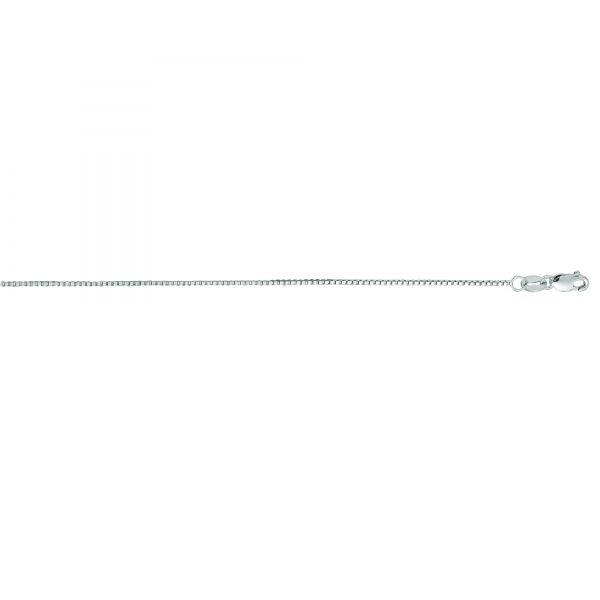 14k White Gold 18 Inch 0.8mm Box Chain Robert Irwin Jewelers Memphis, TN