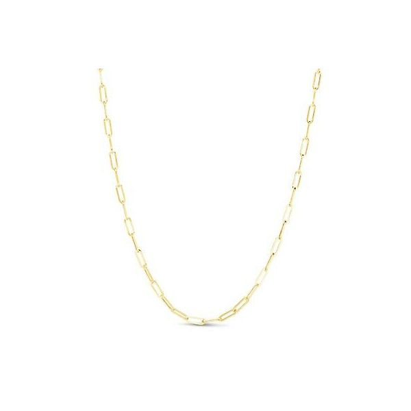 14k Yellow Gold 18 Inch 3.3mm Paperclip Chain With Lobster Clasp Robert Irwin Jewelers Memphis, TN