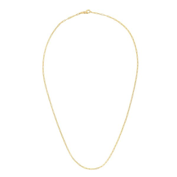 14k Yellow Gold 18 Inch 2.1mm Paperclip Chain With Lobster Clasp Robert Irwin Jewelers Memphis, TN