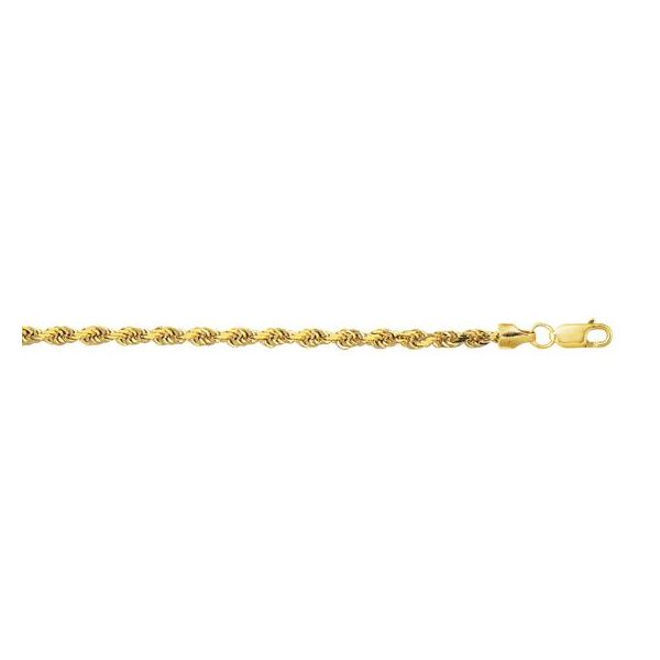 10k Yellow Gold 24 Inch 3mm Rope Chain With Lobster Clasp Robert Irwin Jewelers Memphis, TN