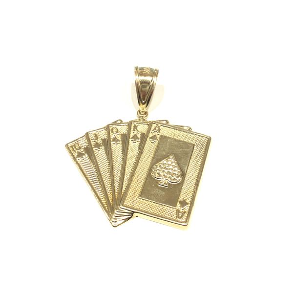 10k Yellow Gold Royal Flush Cards Charm Robert Irwin Jewelers Memphis, TN