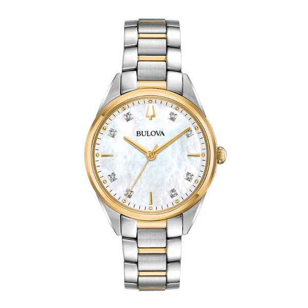 Ladies Bulova Stainless Steel Gold-Tone Mother of Pearl Sapphire Crystal Watch Robert Irwin Jewelers Memphis, TN