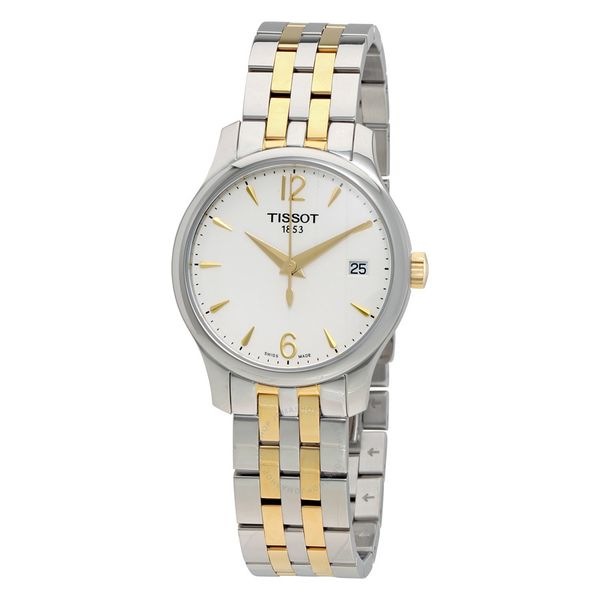 Tissot Tradition White Dial Two-tone Stainless Steel Ladies Watch Robert Irwin Jewelers Memphis, TN