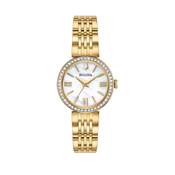 Bulova Ladies Crystal Stainless Steel Gold-Tone Watch and Bracelet Set Image 2 Robert Irwin Jewelers Memphis, TN