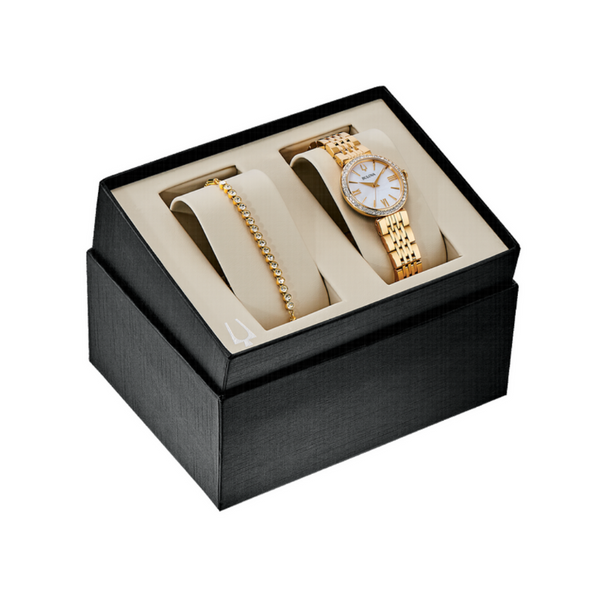 Bulova Ladies Crystal Stainless Steel Gold-Tone Watch and Bracelet Set Image 4 Robert Irwin Jewelers Memphis, TN
