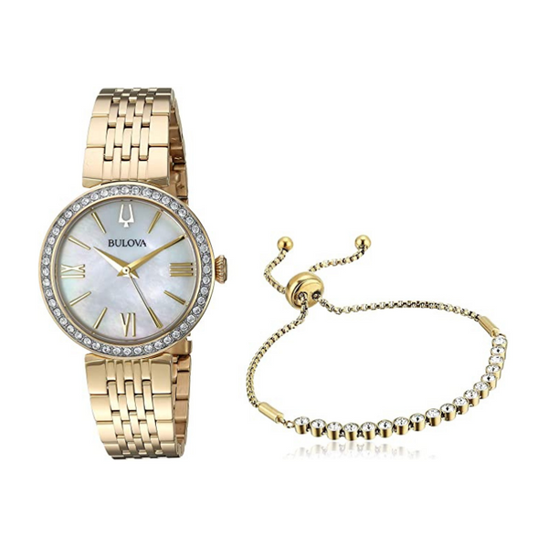 Bulova Ladies Crystal Stainless Steel Gold-Tone Watch and Bracelet Set Robert Irwin Jewelers Memphis, TN