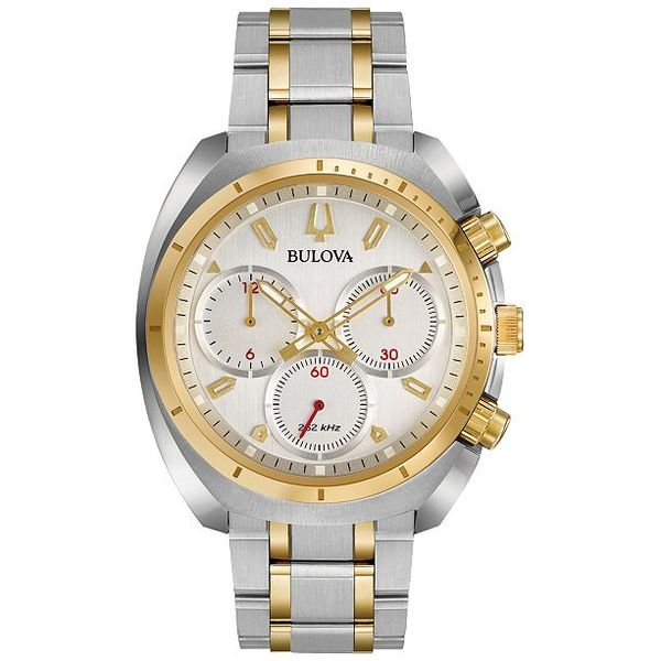 Bulova Men's Chronograph Two-Tone Stainless Steel Bracelet Watch Robert Irwin Jewelers Memphis, TN