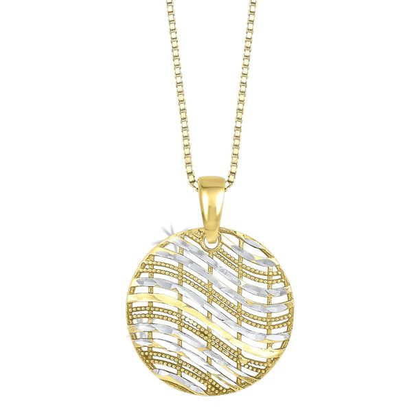 Sterling Silver Gold Overlay Circle Pendant Robert Irwin Jewelers Memphis, TN