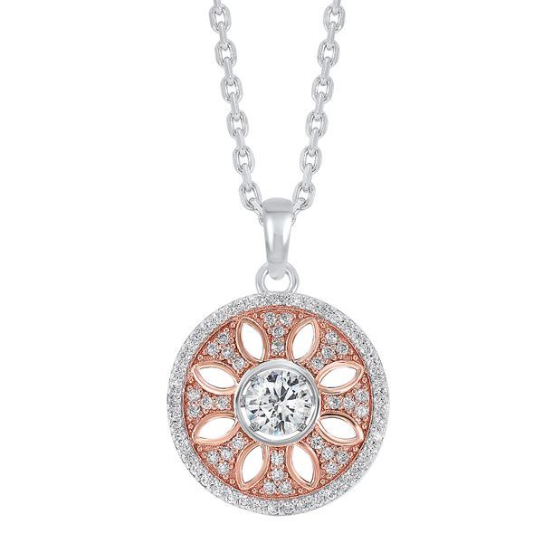 Sterling Silver Two Tone Circle Pendant Robert Irwin Jewelers Memphis, TN