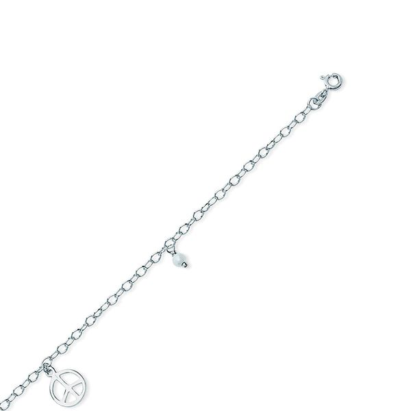 Sterling Silver Pearl Peace Sign 10 Inch Anklet Robert Irwin Jewelers Memphis, TN