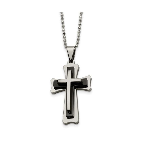 Stainless Steel Black Acrylic and Polished Cross Pendant 24 Inch Necklace Robert Irwin Jewelers Memphis, TN
