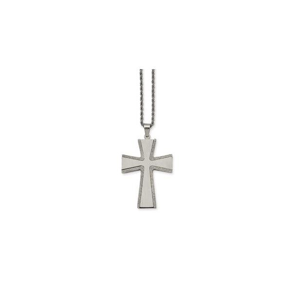 Stainless Steel Laser Cut and Brushed Cross Pendant Necklace Robert Irwin Jewelers Memphis, TN