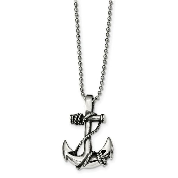 Chisel Stainless Steel Antiqued and Polished Anchor Necklace Robert Irwin Jewelers Memphis, TN