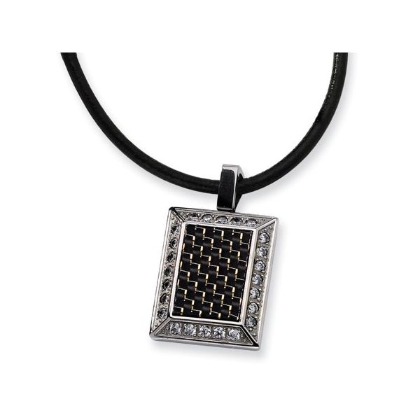 Chisel Stainless Steel Gold and Black color CZ Carbon Fiber Pendant Necklace - 22 inches Robert Irwin Jewelers Memphis, TN