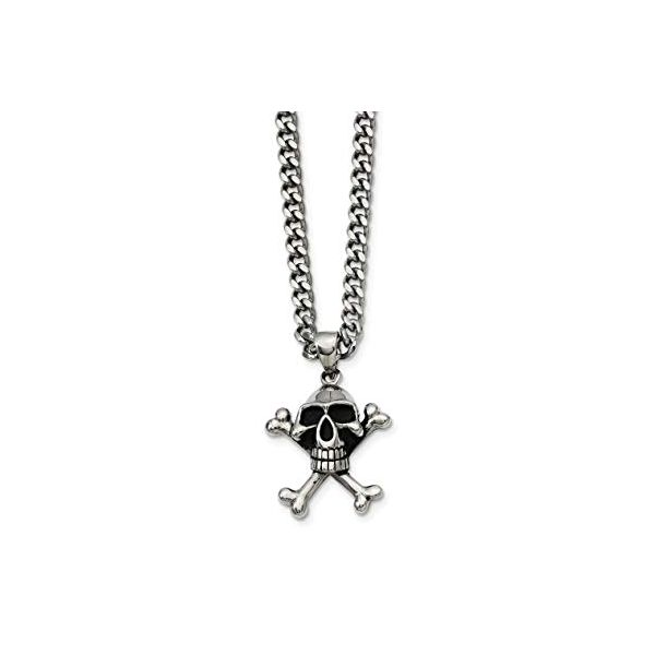 Stainless Steel Skull Crossbones Pendant With 24 Inch Chain Robert Irwin Jewelers Memphis, TN