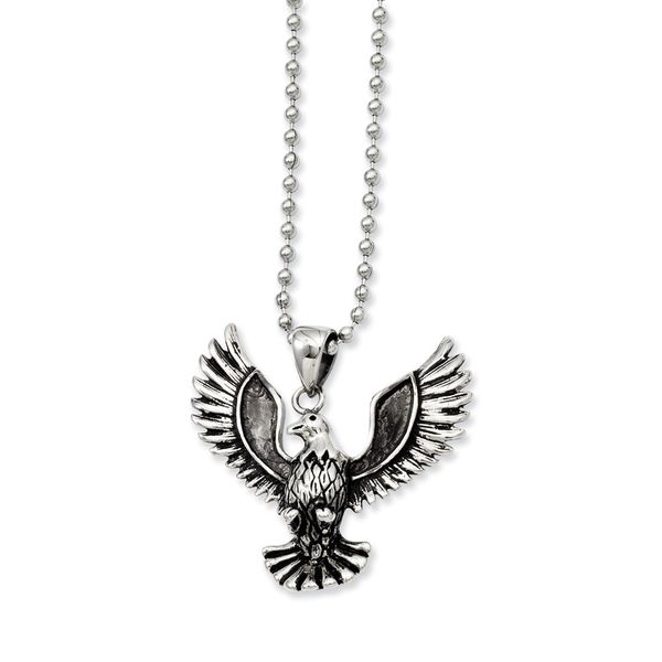 Stainless Steel Antiqued Screaming Eagle Pendant Robert Irwin Jewelers Memphis, TN