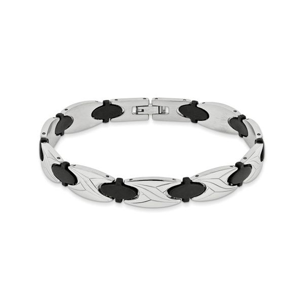 Stainless Steel 9 Inch Mens Bracelet With Black Rubber Design Robert Irwin Jewelers Memphis, TN