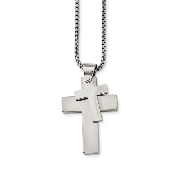 Stainless Steel Polished Crosses Pendant Necklace Robert Irwin Jewelers Memphis, TN
