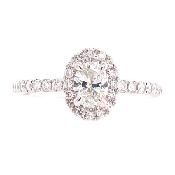 14K White Gold Oval Diamond Engagement Ring with Halo Rolland's Jewelers Libertyville, IL