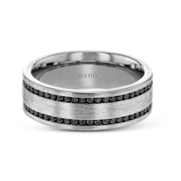Simon G. White Gold Black Diamond Men's Wedding Band Image 2 Rolland's Jewelers Libertyville, IL